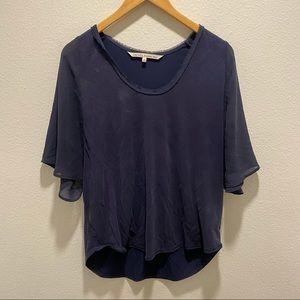RACHEL Rachel Roy Blue Short Sleeve Blouse Top